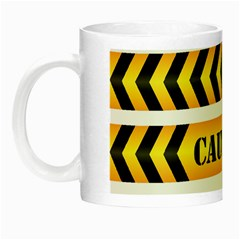 Caution Road Sign Warning Cross Danger Yellow Chevron Line Black Night Luminous Mugs by Alisyart