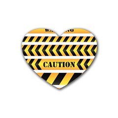 Caution Road Sign Warning Cross Danger Yellow Chevron Line Black Rubber Coaster (heart)  by Alisyart