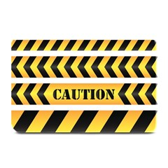 Caution Road Sign Warning Cross Danger Yellow Chevron Line Black Plate Mats by Alisyart