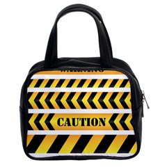 Caution Road Sign Warning Cross Danger Yellow Chevron Line Black Classic Handbags (2 Sides) by Alisyart