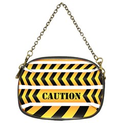 Caution Road Sign Warning Cross Danger Yellow Chevron Line Black Chain Purses (one Side)  by Alisyart