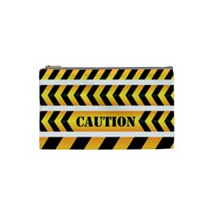 Caution Road Sign Warning Cross Danger Yellow Chevron Line Black Cosmetic Bag (small)