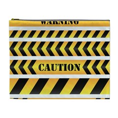 Caution Road Sign Warning Cross Danger Yellow Chevron Line Black Cosmetic Bag (xl)