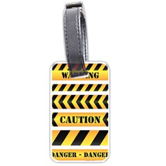 Caution Road Sign Warning Cross Danger Yellow Chevron Line Black Luggage Tags (two Sides)