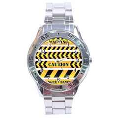 Caution Road Sign Warning Cross Danger Yellow Chevron Line Black Stainless Steel Analogue Watch by Alisyart