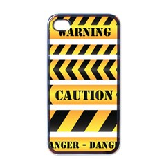 Caution Road Sign Warning Cross Danger Yellow Chevron Line Black Apple Iphone 4 Case (black)