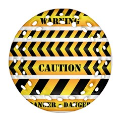 Caution Road Sign Warning Cross Danger Yellow Chevron Line Black Round Filigree Ornament (two Sides) by Alisyart