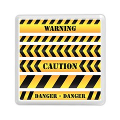 Caution Road Sign Warning Cross Danger Yellow Chevron Line Black Memory Card Reader (square)  by Alisyart