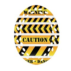Caution Road Sign Warning Cross Danger Yellow Chevron Line Black Oval Filigree Ornament (two Sides) by Alisyart
