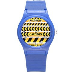 Caution Road Sign Warning Cross Danger Yellow Chevron Line Black Round Plastic Sport Watch (s) by Alisyart