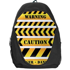 Caution Road Sign Warning Cross Danger Yellow Chevron Line Black Backpack Bag by Alisyart