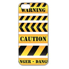 Caution Road Sign Warning Cross Danger Yellow Chevron Line Black Apple Seamless Iphone 5 Case (clear) by Alisyart