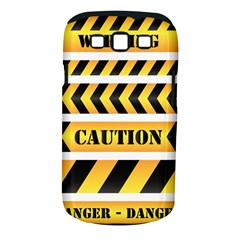 Caution Road Sign Warning Cross Danger Yellow Chevron Line Black Samsung Galaxy S Iii Classic Hardshell Case (pc+silicone) by Alisyart