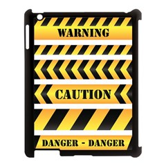 Caution Road Sign Warning Cross Danger Yellow Chevron Line Black Apple Ipad 3/4 Case (black) by Alisyart