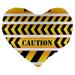 Caution Road Sign Warning Cross Danger Yellow Chevron Line Black Large 19  Premium Heart Shape Cushions