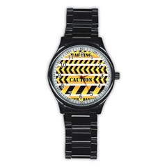 Caution Road Sign Warning Cross Danger Yellow Chevron Line Black Stainless Steel Round Watch by Alisyart