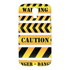 Caution Road Sign Warning Cross Danger Yellow Chevron Line Black Samsung Galaxy S4 I9500/i9505 Hardshell Case by Alisyart