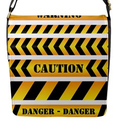 Caution Road Sign Warning Cross Danger Yellow Chevron Line Black Flap Messenger Bag (s) by Alisyart
