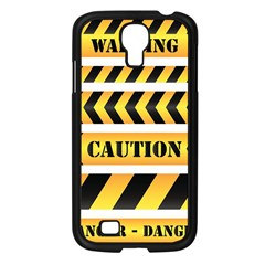 Caution Road Sign Warning Cross Danger Yellow Chevron Line Black Samsung Galaxy S4 I9500/ I9505 Case (black) by Alisyart