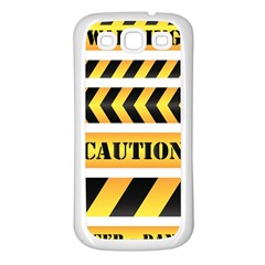 Caution Road Sign Warning Cross Danger Yellow Chevron Line Black Samsung Galaxy S3 Back Case (white) by Alisyart