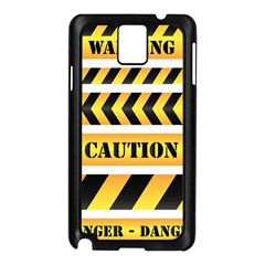Caution Road Sign Warning Cross Danger Yellow Chevron Line Black Samsung Galaxy Note 3 N9005 Case (black) by Alisyart