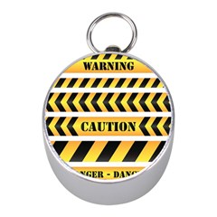 Caution Road Sign Warning Cross Danger Yellow Chevron Line Black Mini Silver Compasses by Alisyart