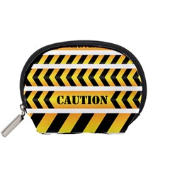 Caution Road Sign Warning Cross Danger Yellow Chevron Line Black Accessory Pouches (small)  by Alisyart