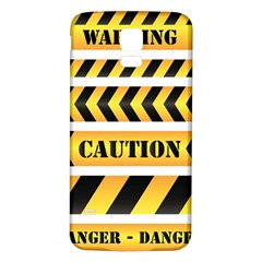 Caution Road Sign Warning Cross Danger Yellow Chevron Line Black Samsung Galaxy S5 Back Case (white) by Alisyart