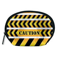 Caution Road Sign Warning Cross Danger Yellow Chevron Line Black Accessory Pouches (medium)  by Alisyart