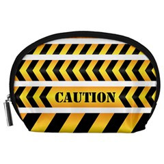 Caution Road Sign Warning Cross Danger Yellow Chevron Line Black Accessory Pouches (large)  by Alisyart