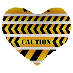 Caution Road Sign Warning Cross Danger Yellow Chevron Line Black Large 19  Premium Flano Heart Shape Cushions