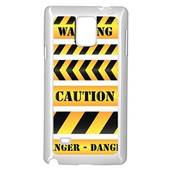 Caution Road Sign Warning Cross Danger Yellow Chevron Line Black Samsung Galaxy Note 4 Case (white) by Alisyart