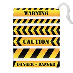 Caution Road Sign Warning Cross Danger Yellow Chevron Line Black Drawstring Pouches (xxl)