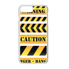 Caution Road Sign Warning Cross Danger Yellow Chevron Line Black Apple Iphone 7 Plus White Seamless Case by Alisyart