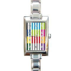 Color Bars Rainbow Green Blue Grey Red Pink Orange Yellow White Line Vertical Rectangle Italian Charm Watch by Alisyart