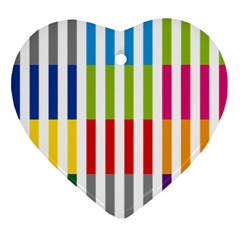 Color Bars Rainbow Green Blue Grey Red Pink Orange Yellow White Line Vertical Ornament (heart)