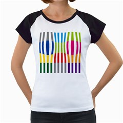 Color Bars Rainbow Green Blue Grey Red Pink Orange Yellow White Line Vertical Women s Cap Sleeve T
