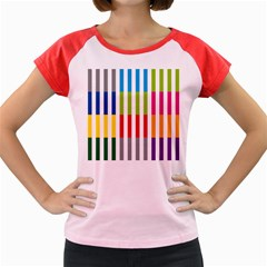 Color Bars Rainbow Green Blue Grey Red Pink Orange Yellow White Line Vertical Women s Cap Sleeve T Shirt by Alisyart