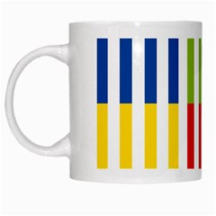 Color Bars Rainbow Green Blue Grey Red Pink Orange Yellow White Line Vertical White Mugs by Alisyart