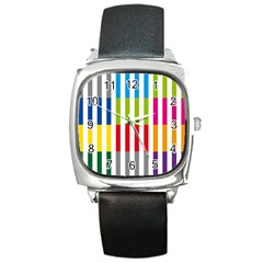 Color Bars Rainbow Green Blue Grey Red Pink Orange Yellow White Line Vertical Square Metal Watch