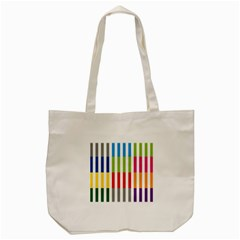 Color Bars Rainbow Green Blue Grey Red Pink Orange Yellow White Line Vertical Tote Bag (cream) by Alisyart