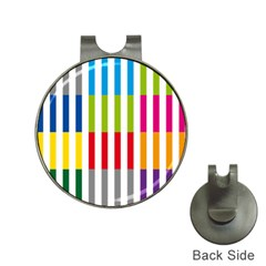 Color Bars Rainbow Green Blue Grey Red Pink Orange Yellow White Line Vertical Hat Clips With Golf Markers