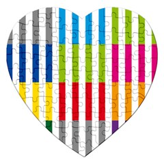 Color Bars Rainbow Green Blue Grey Red Pink Orange Yellow White Line Vertical Jigsaw Puzzle (heart)