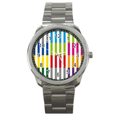 Color Bars Rainbow Green Blue Grey Red Pink Orange Yellow White Line Vertical Sport Metal Watch by Alisyart
