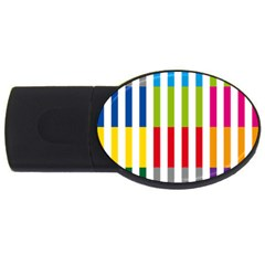 Color Bars Rainbow Green Blue Grey Red Pink Orange Yellow White Line Vertical Usb Flash Drive Oval (4 Gb) by Alisyart