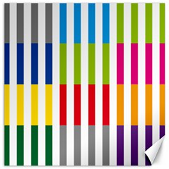 Color Bars Rainbow Green Blue Grey Red Pink Orange Yellow White Line Vertical Canvas 16  X 16