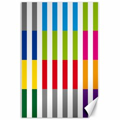 Color Bars Rainbow Green Blue Grey Red Pink Orange Yellow White Line Vertical Canvas 24  X 36  by Alisyart