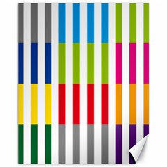 Color Bars Rainbow Green Blue Grey Red Pink Orange Yellow White Line Vertical Canvas 11  X 14   by Alisyart