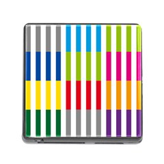 Color Bars Rainbow Green Blue Grey Red Pink Orange Yellow White Line Vertical Memory Card Reader (square) by Alisyart