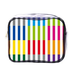 Color Bars Rainbow Green Blue Grey Red Pink Orange Yellow White Line Vertical Mini Toiletries Bags by Alisyart